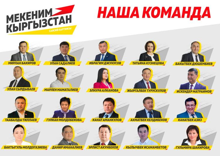 «Мекеним Кыргызстан» партиясынын 200 талапкери (тизме)