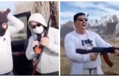Видео. Бишкекте дүкөнгө кирип автоматтан ок чыгарган пранкер кармалды