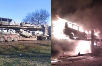 Видео. Сокулукта ташылып бараткан 7 автоунаа толугу менен өрттөнүп кетти