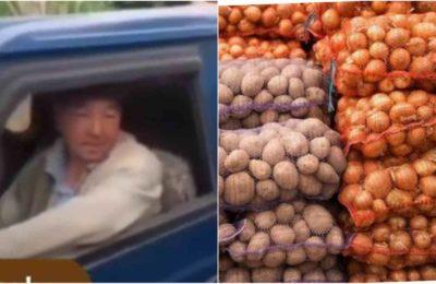 Видео. Тажикстандан пияз ташып келаткан адамды кармап алып уят кылышты
